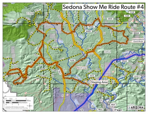 Map of Sedona Show me Ride Route 4 OHV trail (Off-Highway Vehicle). Published by Arizona State Parks & Trails.