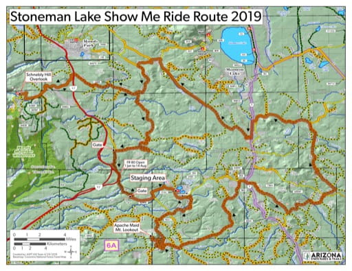 Map of Stoneman Lake Route Off-Highway Vehicle area (OHV) with access to Mormon Lake, Munds Park and Schnebly. Published by Arizona State Parks & Trails.