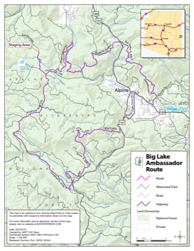 Map of Ambassador Off-Highway Vehicle (OHV) Route in the Big Lake area in Arizona. Published by Arizona State Parks & Trails.