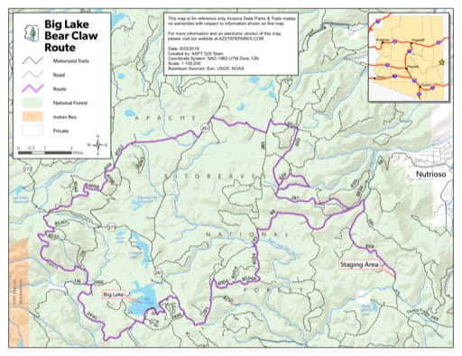 Map of Bear Claw Off-Highway Vehicle (OHV) Route in the Big Lake area in Arizona. Published by Arizona State Parks & Trails.