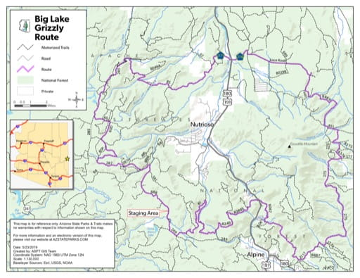 Map of Grizzly Off-Highway Vehicle (OHV) Route in the Big Lake area in Arizona. Published by Arizona State Parks & Trails.