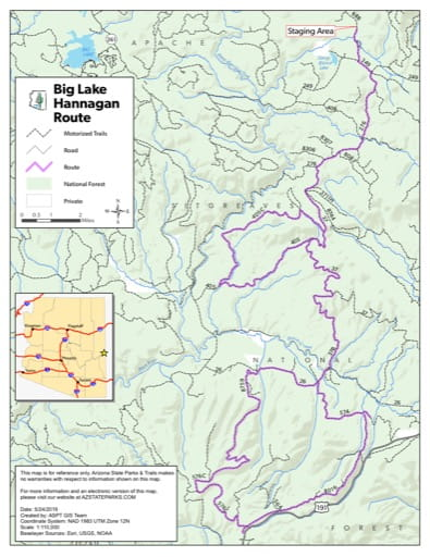 Map of Hannagan Off-Highway Vehicle (OHV) Route in the Big Lake area in Arizona. Published by Arizona State Parks & Trails.