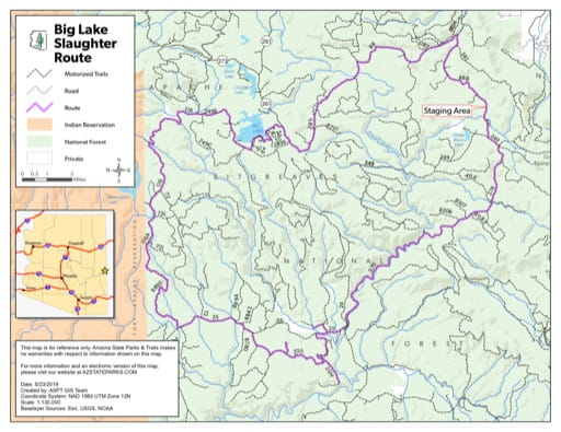 Map of Slaughter Off-Highway Vehicle (OHV) Route in the Big Lake area in Arizona. Published by Arizona State Parks & Trails.