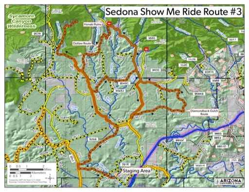 Map of Sedona Show me Ride Route 3 OHV trail (Off-Highway Vehicle). Published by Arizona State Parks & Trails.