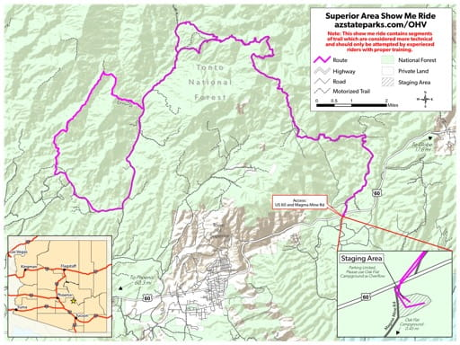 Map of the Superior Show Me Ride Off-Highway Vehicle Route (OHV) near Superior in Arizona. Published by Arizona State Parks & Trails.