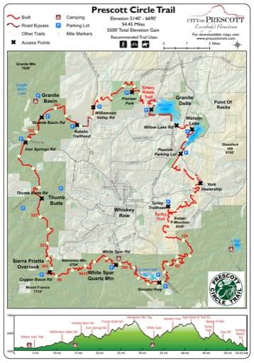 Map of Prescott Circle Trail near the City of Prescott in Arizona. Published by the City of Prescott.