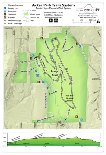 Map of the Acker Park Trails System near the City of Prescott in Arizona. Published by the City of Prescott.