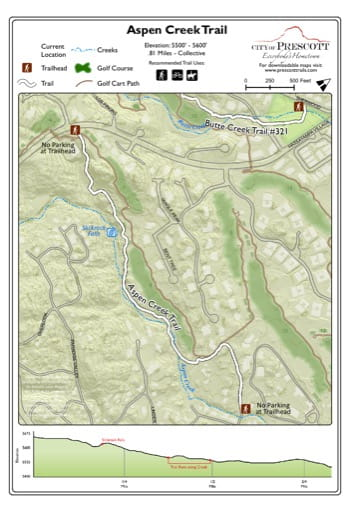Map of Aspen Creek Trail near the City of Prescott in Arizona. Published by the City of Prescott.