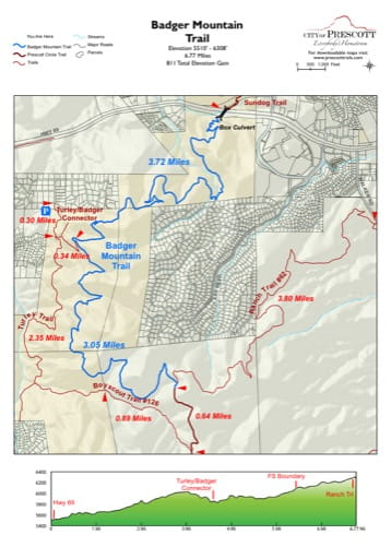 Map of Badger Mountain Trail near the City of Prescott in Arizona. Published by the City of Prescott.