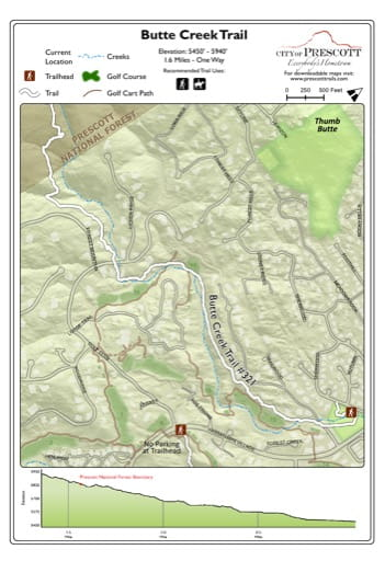 Map of Butte Creek Trail near the City of Prescott in Arizona. Published by the City of Prescott.