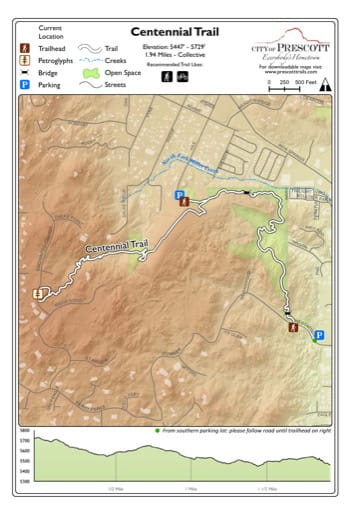 Map of Centennial Trail near the City of Prescott in Arizona. Published by the City of Prescott.