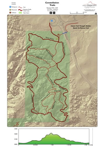 Map of Constellation Trails near the City of Prescott in Arizona. Published by the City of Prescott.