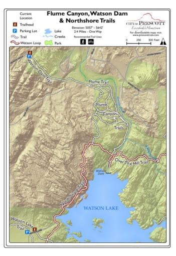 Map of Flume Canyon, Watson Dam & Northshore Trails at Watson Lake near the City of Prescott in Arizona. Published by the City of Prescott.