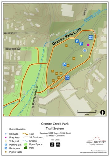 Map of Granite Creek Park Trails near the City of Prescott in Arizona. Published by the City of Prescott.