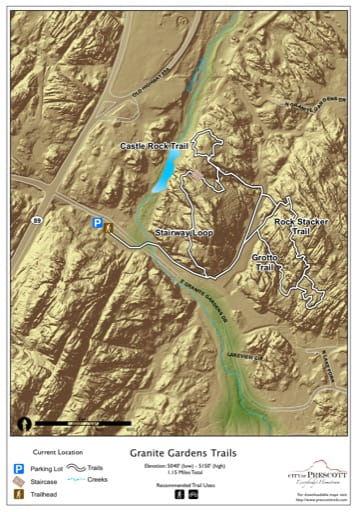 Map of Granite Garden Trails near the City of Prescott in Arizona. Published by the City of Prescott.
