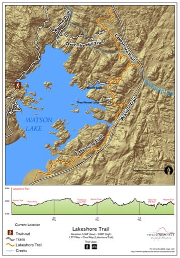 Map of Lakeshore Trail at Watson Lake near the City of Prescott in Arizona. Published by the City of Prescott.