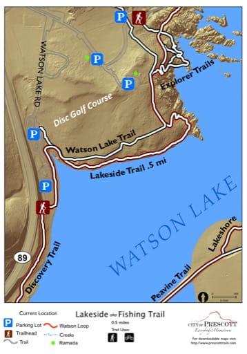Map of Lakeside aka Fishing Trail at Watson Lake near the City of Prescott in Arizona. Published by the City of Prescott.