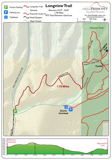 Map of Longview Trail near the City of Prescott in Arizona. Published by the City of Prescott.