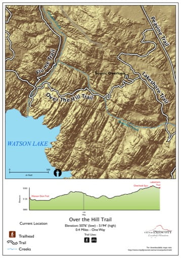Map of Over the Hill Trail at Watson Lake near the City of Prescott in Arizona. Published by the City of Prescott.