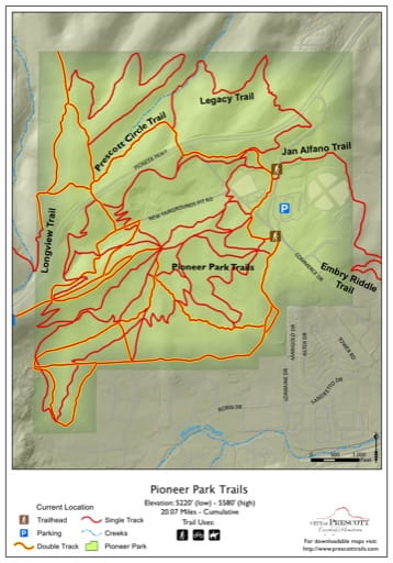 Map of Pioneer Park Trails near the City of Prescott in Arizona. Published by the City of Prescott.