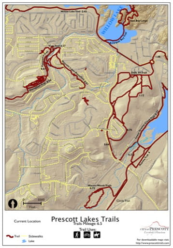 Map of Prescott Lakes Trails near the City of Prescott in Arizona. Published by the City of Prescott.