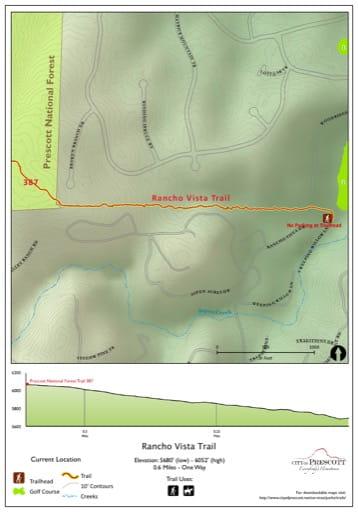 Map of Rancho Vista Trail near the City of Prescott in Arizona. Published by the City of Prescott.