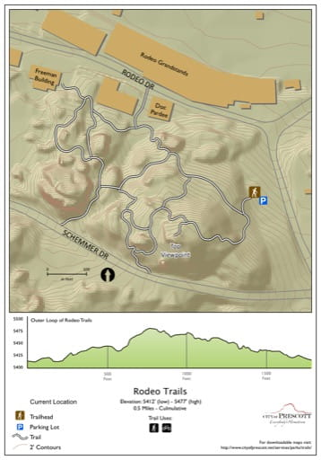 Map of Rodeo Trails near the City of Prescott in Arizona. Published by the City of Prescott.