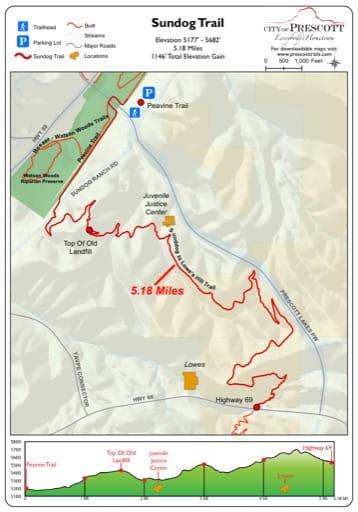 Map of Sundog Trail near the City of Prescott in Arizona. Published by the City of Prescott.