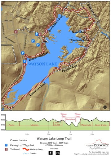 Map of Watson Lake Loop Trail near the City of Prescott in Arizona. Published by the City of Prescott.