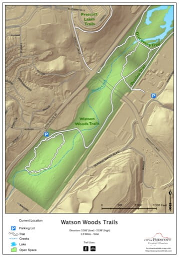 Map of Watson Woods Trails near the City of Prescott in Arizona. Published by the City of Prescott.