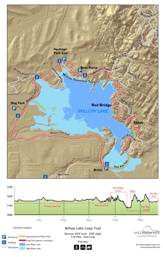 Map of Willow Lake Loop Trail near the City of Prescott in Arizona. Published by the City of Prescott.