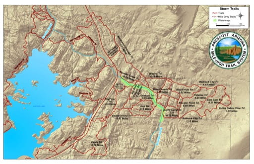 Map of Storm Trails at Watson Lake near the City of Prescott in Arizona. Published by the City of Prescott.