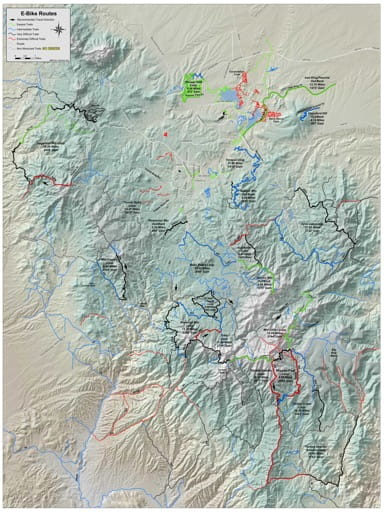 Map of suggested E-Bike Routes in and around The City of Prescott in Arizona. Published by the City of Prescott and the U.S. Forest Service (USFS).