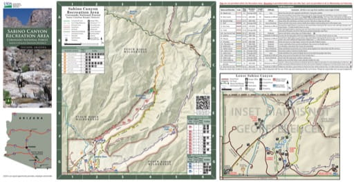 Visitor Map of Sabino Canyon Recreation Area (RA) in Coronado National Fores (NF) in Arizona. Published by the U.S. Forest Service (USFS).