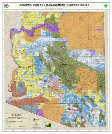 Statewide Map of Arizona Surface Management Responsibility. Published by Arizona State Land Department and U.S. Bureau of Land Management (BLM).