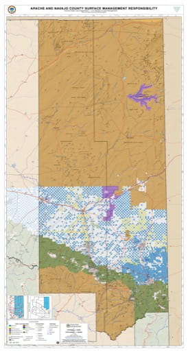 Apache and Navaja County Map of Arizona Surface Management Responsibility. Published by Arizona State Land Department and U.S. Bureau of Land Management (BLM).