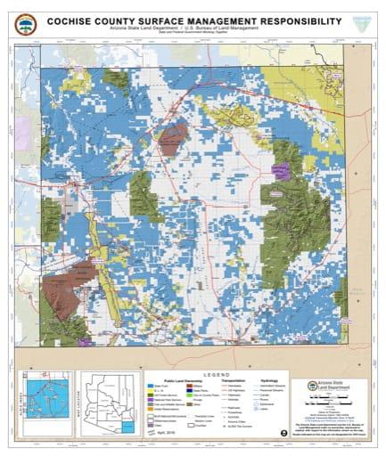 Cochise County Map of Arizona Surface Management Responsibility. Published by Arizona State Land Department and U.S. Bureau of Land Management (BLM).