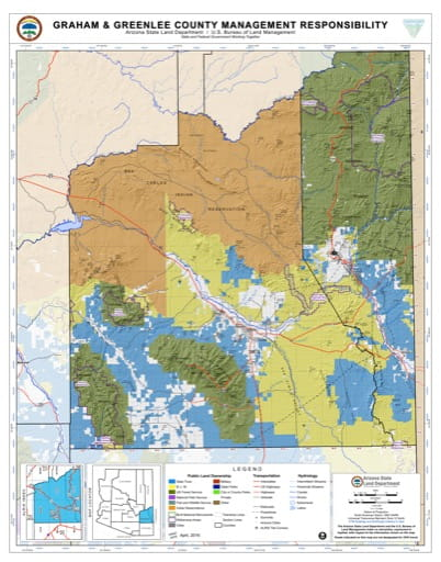 Graham and Greenlee County Map of Arizona Surface Management Responsibility. Published by Arizona State Land Department and U.S. Bureau of Land Management (BLM).