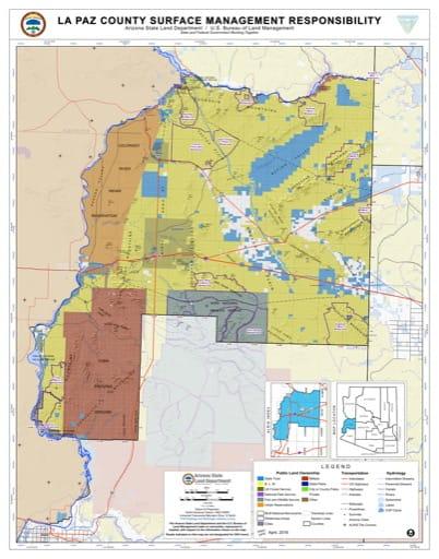 La Paz County Map of Arizona Surface Management Responsibility. Published by Arizona State Land Department and U.S. Bureau of Land Management (BLM).