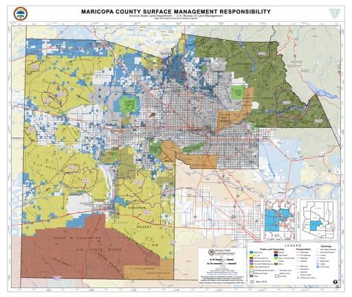 Maricopa County Map of Arizona Surface Management Responsibility. Published by Arizona State Land Department and U.S. Bureau of Land Management (BLM).