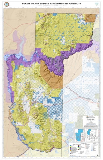 Mohave County Map of Arizona Surface Management Responsibility. Published by Arizona State Land Department and U.S. Bureau of Land Management (BLM).