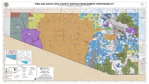 Pima and Santa Cruz County Map of Arizona Surface Management Responsibility. Published by Arizona State Land Department and U.S. Bureau of Land Management (BLM).
