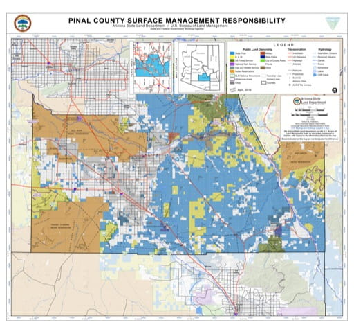 Pinal County Map of Arizona Surface Management Responsibility. Published by Arizona State Land Department and U.S. Bureau of Land Management (BLM).