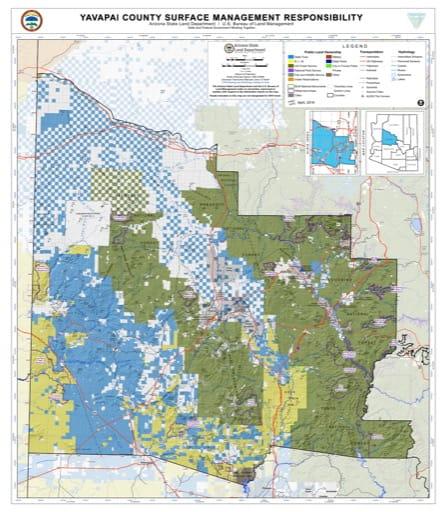 Yavapai County Map of Arizona Surface Management Responsibility. Published by Arizona State Land Department and U.S. Bureau of Land Management (BLM).