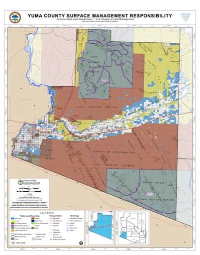 Yuma County Map of Arizona Surface Management Responsibility. Published by Arizona State Land Department and U.S. Bureau of Land Management (BLM).
