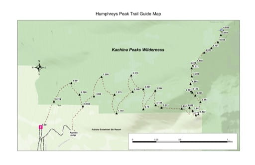 Trail Map to Humphreys Peak in Coconino National Forest (NF) in Arizona. Published by the U.S. Forest Service (USFS).