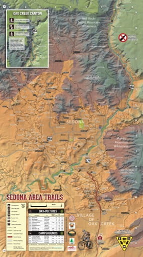 Recreation Map of Red Rock Ranger District in Coconino National Forest (NF) in Arizona. Published by the U.S. Forest Service (USFS).