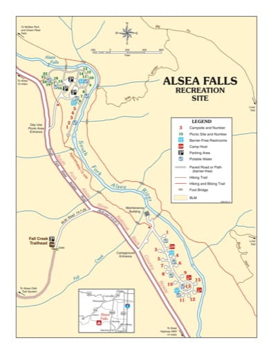 Recreation Map of Alsea Falls Recreation Site (RS) in Oregon. Published by the Bureau of Land Management (BLM).