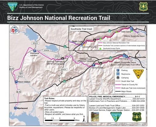 Map of Bizz Johnson National Recreation Trail (NRT) in California. Published by the Bureau of Land Management (BLM).