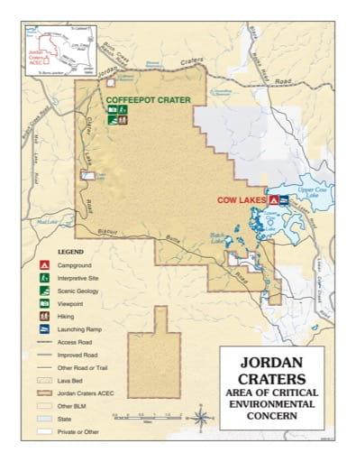 map of Jordan Craters - Visitor Map